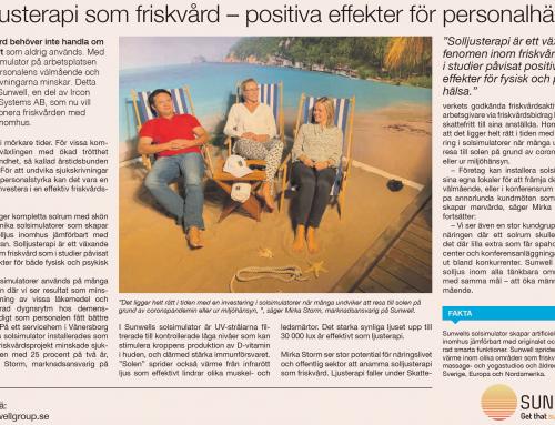 Solljusterapi som friskvård i Dagens industri